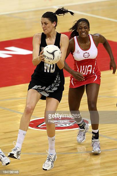 Anna Harrison of New Zealand receives a pass during the Quad Series match between the New Zealand Silver Ferns and England at TSB Bank Arena on...