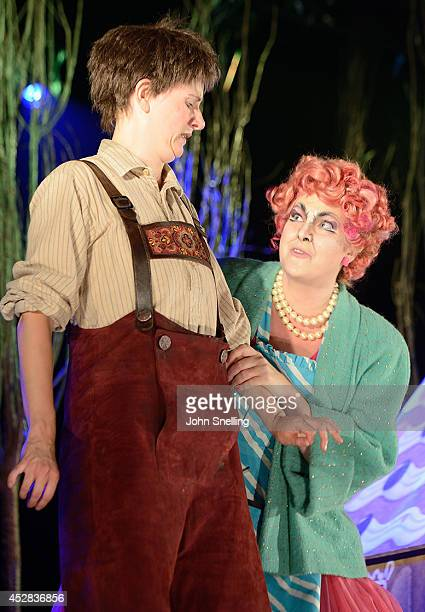 Anna Harvey as Hansel and Helen Anne Gregory as Witch Garsington Opera Young Artists programme perform in 'Hansel and Gretel' at West Green on July...