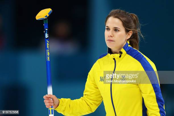 Anna Hasselborg of Sweden competes during the Women Curling round robin session 7 on day nine of the PyeongChang 2018 Winter Olympic Games at...