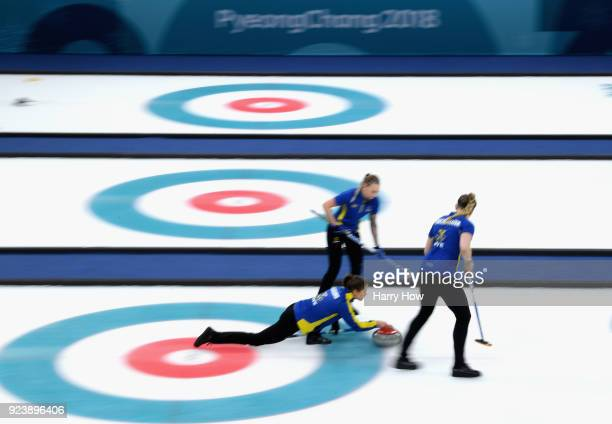 Anna Hasselborg of Sweden delivers a stone during the Women's Gold Medal Game between Sweden and Korea on day sixteen of the PyeongChang 2018 Winter...