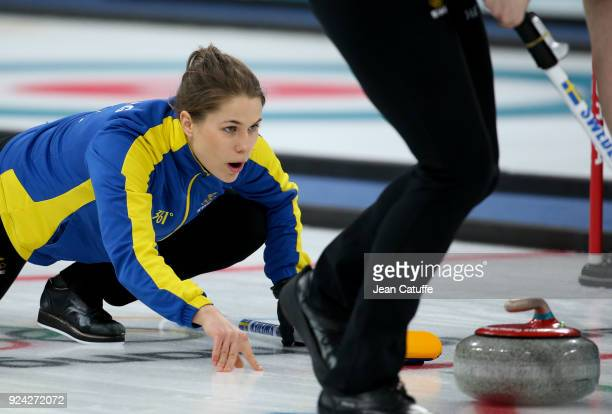 Anna Hasselborg of Sweden during the Women's Gold Medal game between Sweden and South Korea at the 2018 PyeongChang Winter Olympic Games at Gangneung...