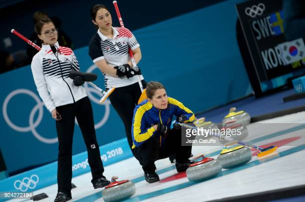 Anna Hasselborg of Sweden Kim EunJung and Kim KyeongAe of Republic of Korea during the Women's Gold Medal game between Sweden and South Korea at the...