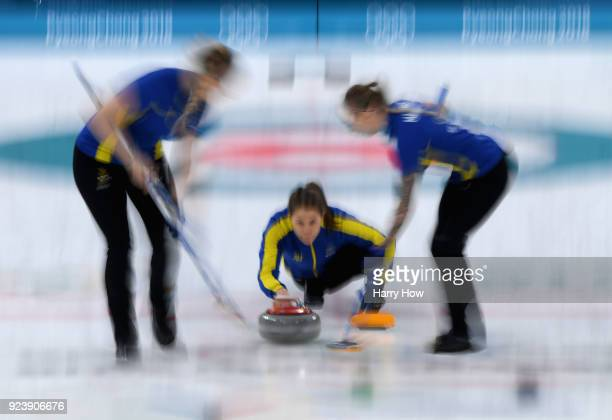 Anna Hasselborg of Sweden throws a stone during the Women's Gold Medal Game between Sweden and Korea on day sixteen of the PyeongChang 2018 Winter...