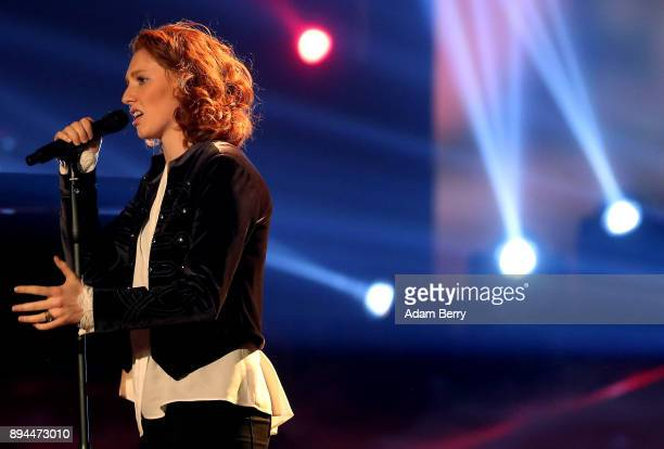 Anna Heimrath performs during the 'The Voice of Germany' finals at Studio Berlin Adlershof on December 17 2017 in Berlin Germany