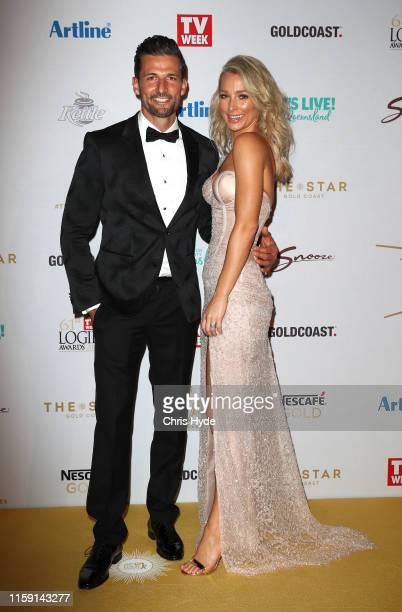 Anna Heinrich and Tim Robards arrive at the 61st Annual TV WEEK Logie Awards at The Star Gold Coast on June 30 2019 on the Gold Coast Australia