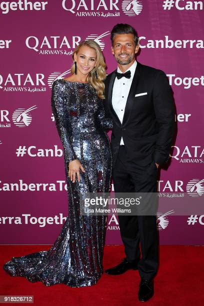 Anna Heinrich and Tim Robards arrive at the Qatar Airways Canberra Launch gala dinner on February 13 2018 in Canberra Australia