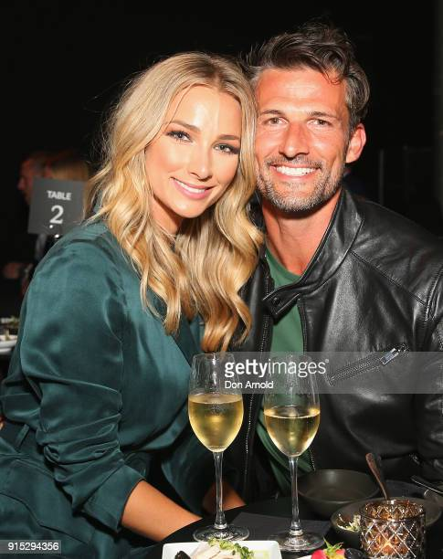 Anna Heinrich and Tim Robards pose after the David Jones Autumn Winter 2018 Collections Launch at Australian Technology Park on February 7 2018 in...