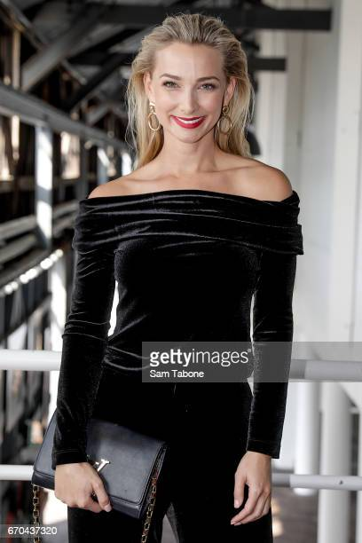 Anna Heinrich arrives ahead of the Carla Zampatti Spring Summer 2017 Show at Sydney Theatre Company on April 20 2017 in Sydney Australia
