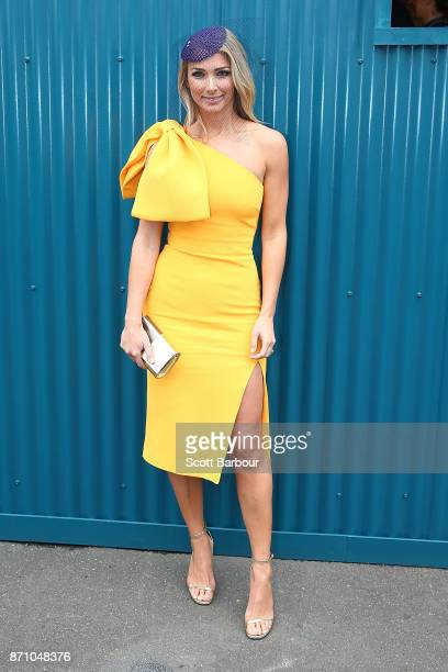 Anna Heinrich poses on Melbourne Cup Day at Flemington Racecourse on November 7 2017 in Melbourne Australia