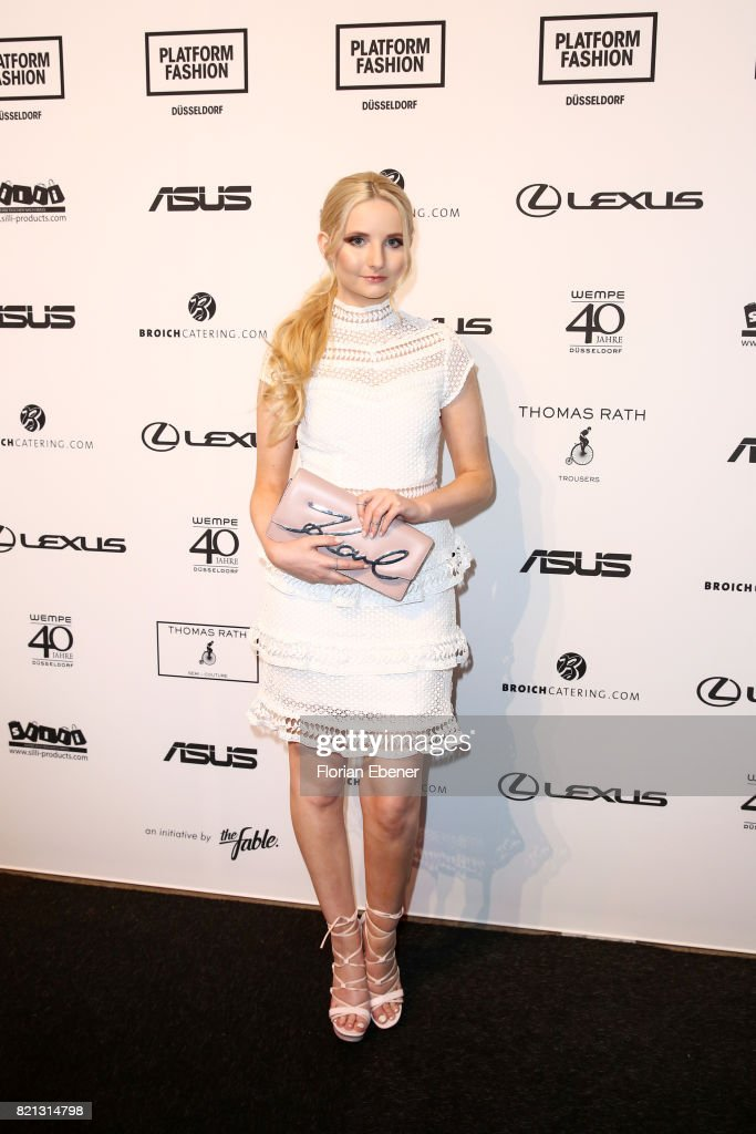 Anna Hilstrop attends the Thomas Rath show during Platform Fashion July 2017 at Areal Boehler on July 23, 2017 in Duesseldorf, Germany.