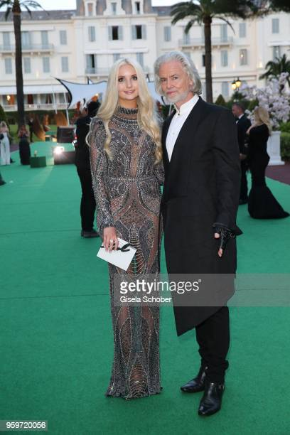 Anna Hiltrop and Hermann Buehlbecker during the cocktail at the amfAR Gala Cannes 2018 at Hotel du CapEdenRoc on May 17 2018 in Cap d'Antibes France