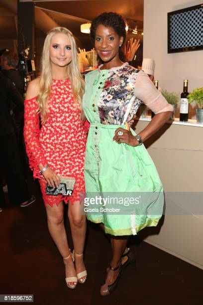Anna Hiltrop and Liz Baffoe during the media night of the CHIO 2017 on July 18 2017 in Aachen Germany