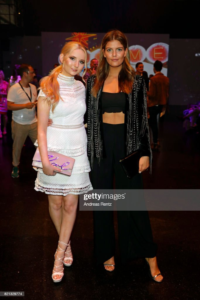 Anna Hiltrop and Vanessa Fuchs attend the Thomas Rath show during Platform Fashion July 2017 at Areal Boehler on July 23, 2017 in Duesseldorf, Germany.