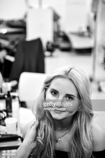 Anna Hiltrop poses backstage prior the American Women's Club And Esmod Charity Fashion Show at DRIVE Volkswagen Group Forum on October 12 2017 in...