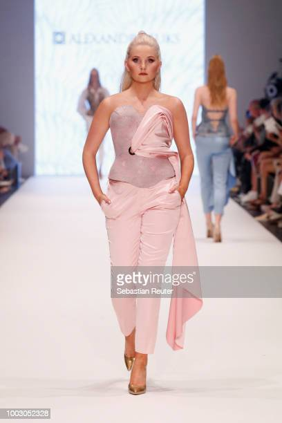 A singer performs at the runway at the Fashionyard show during Platform Fashion July 2018 at Areal Boehler on July 21 2018 in Duesseldorf Germany