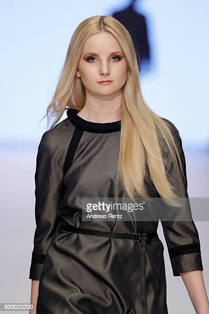 Anna Hiltrop walks the runway at the Fashionyard show during Platform Fashion January 2017 at Areal Boehler on January 29 2017 in Duesseldorf Germany