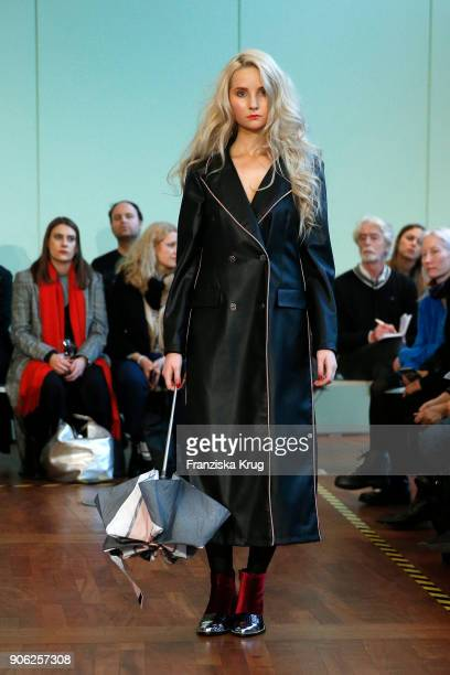 Anna Hiltrop walks the runway during the Rebekka Ruetz Fashion Show at Embassy of Austria on January 16 2018 in Berlin Germany