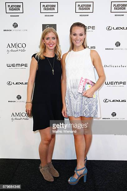 Anna Hofbauer and a guest the Platform Fashion Selected show during Platform Fashion July 2016 at Areal Boehler on July 24 2016 in Duesseldorf Germany