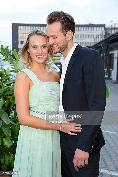 Anna Hofbauer and boyfriend Marvin Albrecht attend the Unique show during Platform Fashion July 2016 at Areal Boehler on July 23 2016 in Duesseldorf...