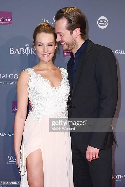 Anna Hofbauer and Marvin Albrecht attend the Gloria Deutscher Kosmetikpreis 2016 at Hilton Hotel on March 4 2016 in Duesseldorf Germany