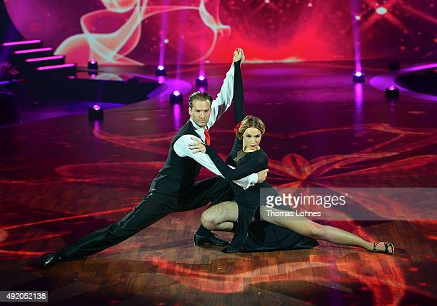 Anna Hofbauer and Marvin Albrecht perform with a tango dance during the fith show of the television competition 'Stepping Out' on October 9 2015 in...
