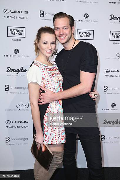 Anna Hofbauer and Marvin Albrecht the Breuninger show during Platform Fashion January 2016 at Areal Boehler on January 29 2016 in Duesseldorf Germany