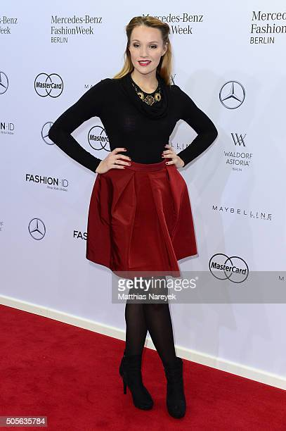 Anna Hofbauer attends the Lena Hoschek show during the MercedesBenz Fashion Week Berlin Autumn/Winter 2016 at Brandenburg Gate on January 19 2016 in...