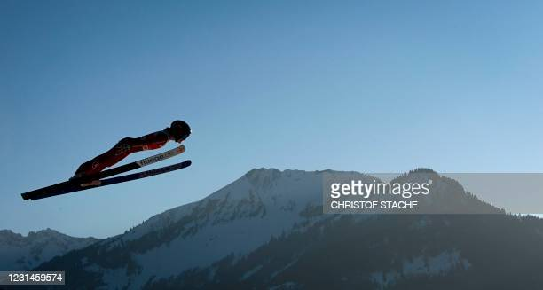 Anna Hoffmann soars during the Women Hill Individual training at the jumping hill stadium in Oberstdorf, southern Germany, on March 1 during the FIS...