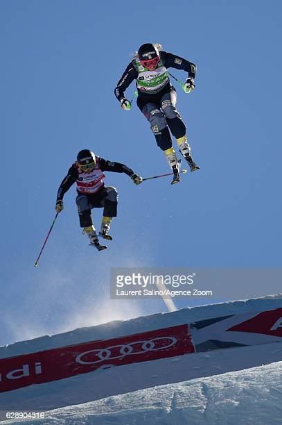 Anna Holmlund of Sweden takes 1st place Sandra Naeslund of Sweden takes 2nd place during the FIS Freestyle Ski World Cup Men's and Women's Ski Cross...