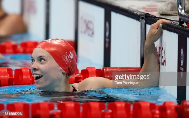 Anna Hopkin of Team Great Britain reacts after winning the gold medal in the Mixed 4 x 100m Medley Relay Final at Tokyo Aquatics Centre on July 31,...