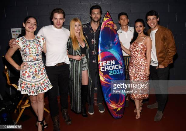 Anna Hopkins Dominic Sherwood Katherine McNamara Harry Shum Jr Emeraude Toubia and Alberto Rosende attend FOX's Teen Choice Awards at The Forum on...