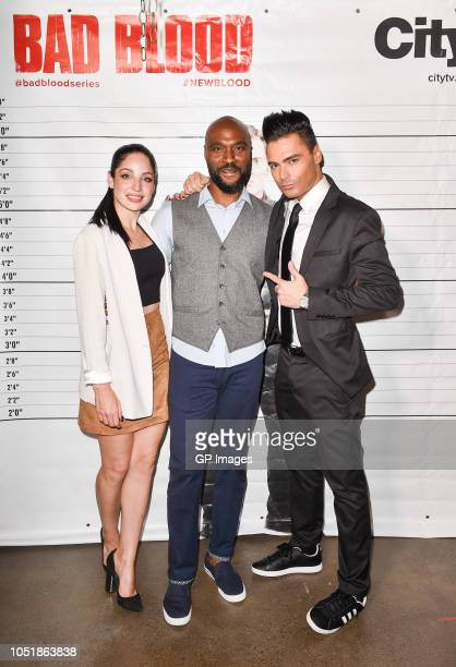 Anna Hopkins Oluwole Daramola and Gianni Falcone attend the Bad Blood Season 2 Premiere at TIFF Bell Lightbox on October 10 2018 in Toronto Canada