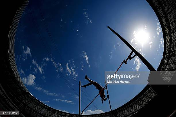 Anna Hrvolova of Slovakia competes in the Women's Pole Vault during day nine of the Baku 2015 European Games at the Olympic Stadium on June 21 2015...
