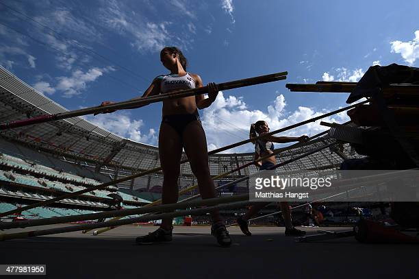 Anna Hrvolova of Slovakia selects a pole prior to competing in the Women's Pole Vault during day nine of the Baku 2015 European Games at the Olympic...