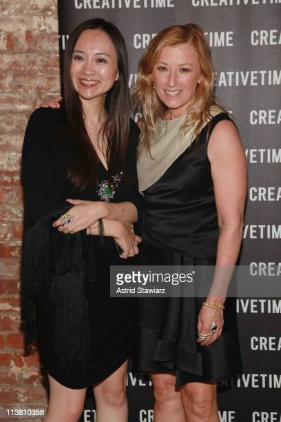 Anna Hu and Cindy Sherman attend the 2011 Creative Time Spring Gala Benefit at Highline Stages on May 5 2011 in New York City