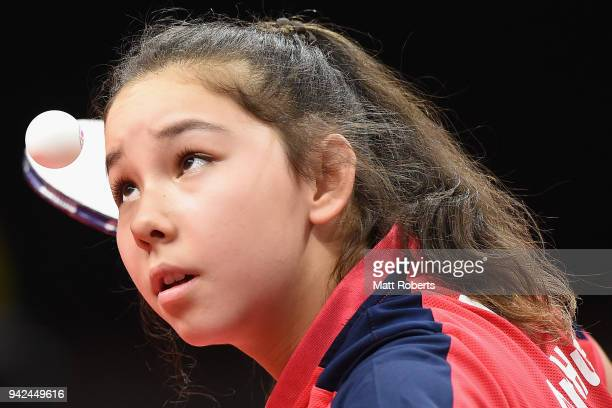 Anna Hursey of Wales competes during the Table Tennis Women's Team preliminary rounds on day two of the Gold Coast 2018 Commonwealth Games at...