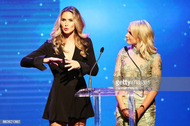 Anna Hutchison and Kimberley Crosman present an award during the NZ TV Awards at Sky City on November 30 2017 in Auckland New Zealand