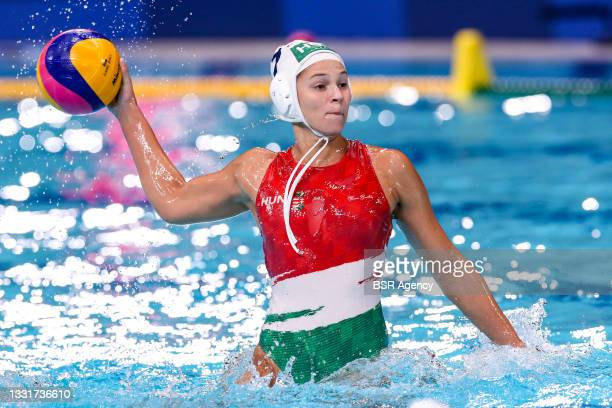 Anna Illes of Hungary during the Tokyo 2020 Olympic Waterpolo Tournament women match between Hungary and China at Tatsumi Waterpolo Centre on August...