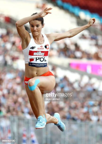 Anna JagaciakMichalska of Poland competes in the Women's Triple Jump during day two of the Athletics World Cup London at the London Stadium on July...
