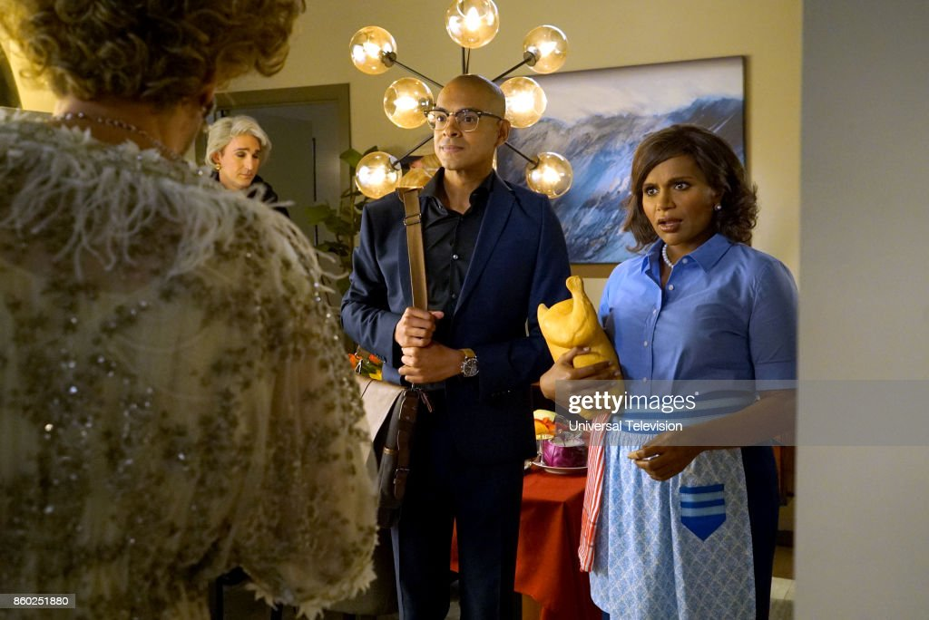 PROJECT -- 'Anna & Jeremy's Meryl Streep Costume Party' Episode 605 -- Pictured: (l-r) Yassir Lester as David, Mindy Kaling as Mindy Lahiri --