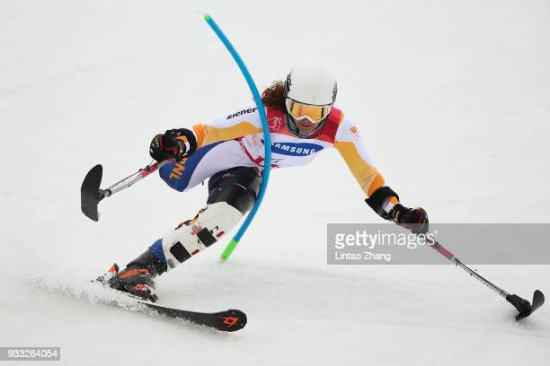 Anna Jochemsen of Netherlands competes in the Alpine Skiing Women's Slalom Run 1 Standing during day nine of the PyeongChang 2018 Paralympic Games on...
