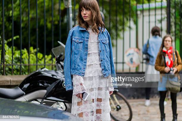Anna K outside Ulyana Sergeenko during Paris Fashion Week Haute Couture F/W 2016/2017 on July 3 2016 in Paris France