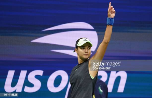 Anna Kalinskaya of Russia calls a shout out while playing Sloane Stephens during their women's first round tennis match at the 2019 US Open tennis...