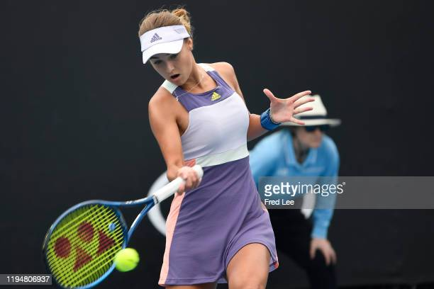 Anna Kalinskaya of Russia in action during her Women's Singles first round match against Saisai Zheng of China on day one of the 2020 Australian Open...