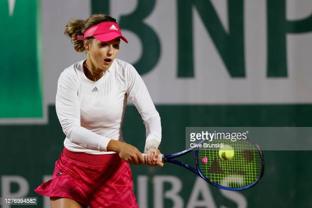 Anna Kalinskaya of Russia plays a backhand during her Women's Singles first round match against Eugenie Bouchard of Canada during day one of the 2020...