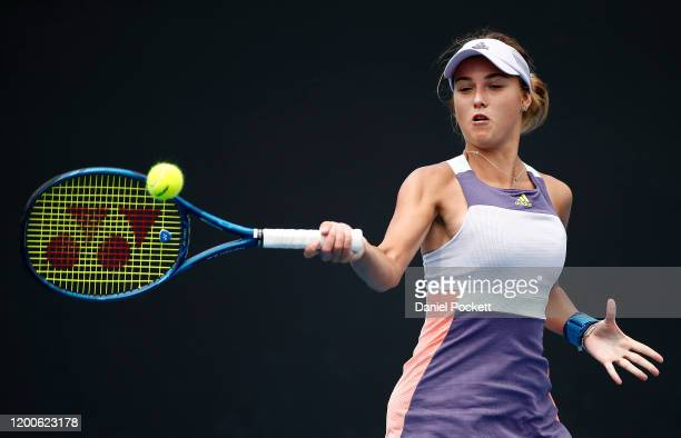 Anna Kalinskaya of Russia plays a forehand during her Women's Singles first round match against Saisai Zheng of China on day one of the 2020...