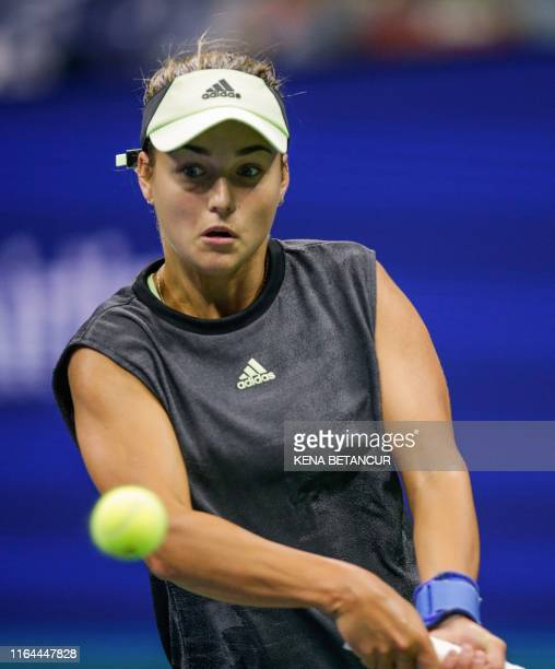 Anna Kalinskaya of Russia returns the ball against Sloane Stephens of United States during their Round 1 women's Singles match at the 2019 US Open at...