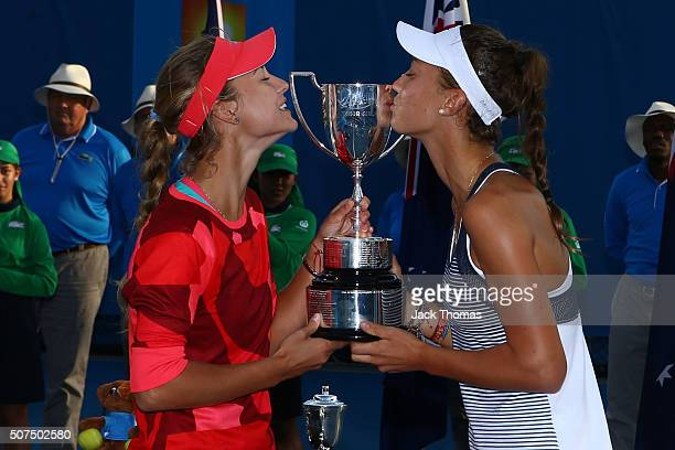 Anna Kalinskaya of the Ukraine and Tereza Mihalikova of the Ukraine pose with the trophy after winning their Junior Girls' Doubles Final match during...