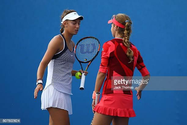 Anna Kalinskaya of the Ukraine and Tereza Mihalikova of the Ukraine celebrate winning their Junior Girls' Doubles Final match during the Australian...