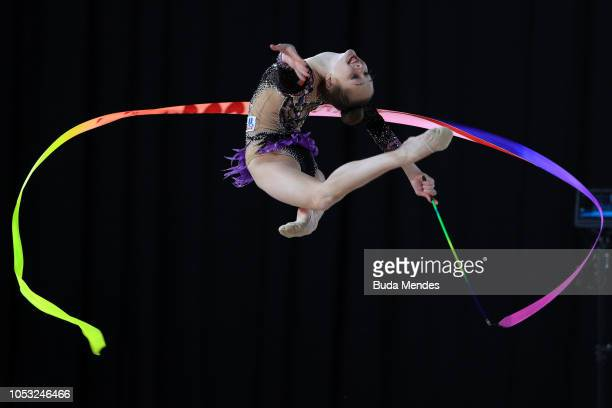 Anna Kamenshchikova of Belarus competes in ribbon in Multidiscipline Team Event Final during Day 4 of Buenos Aires 2018 Youth Olympic Games at...